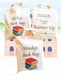 Three cotton bags, personalised with attractive design, stuffed full of literary goodies.